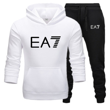 2020 Brand Tracksuit Fashion Men Sportswear Two Piece Sets Cotton Fleece Thick hoodie+Pants Sporting Suit printed thermal Suit men tracksuit cotton gyms suit sportswear two piece outfits fleece thick hoodie trousers jackets