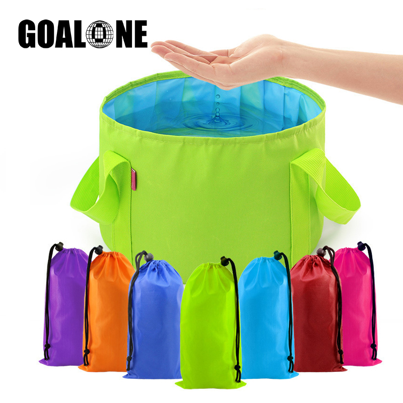 GOALONE 15L Collapsible Foot Basin Portable Durable Camping Water Bucket Foldable Travel Soak Wash with Carrying Bag