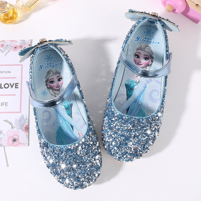 Disney Children Princess Shoes Spring And Autumn New Girls Single Shoes Kids Crystal  Soft Bottom Elsa Frozen Casual Flat Shoes