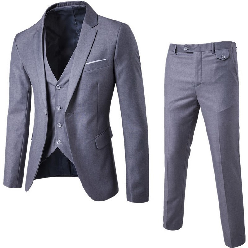 DIHOPE (Jacket+Pant+Vest) Slim Suit Male Spring Autumn Thin Section High-end Business Suit Jacket Pants Suits Wedding Men