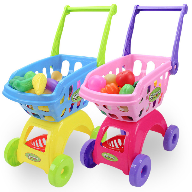 25Pcs/Set Kids Supermarket Shopping Groceries Cart Trolley Toys For Girls Kitchen Play House Simulation Fruits Pretend Baby D211
