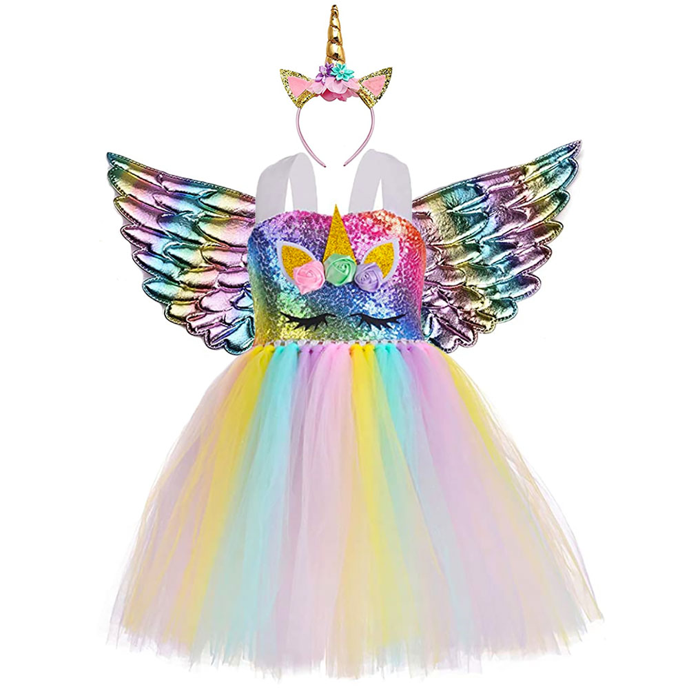 Unicorn Theme Party Dress Toddler Girls Handmade Sequin Flower Fluffy Tutu Dress 1-8year Kid Mardi Gras Pageant Dress Up Costume 1