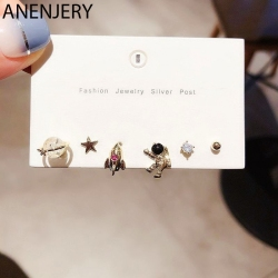 ANENJERY Space Rocket Star Astronaut Stud Earring Set Gold Silver Color Crystal Ball 6-piece Earring Set For Women S-E1204