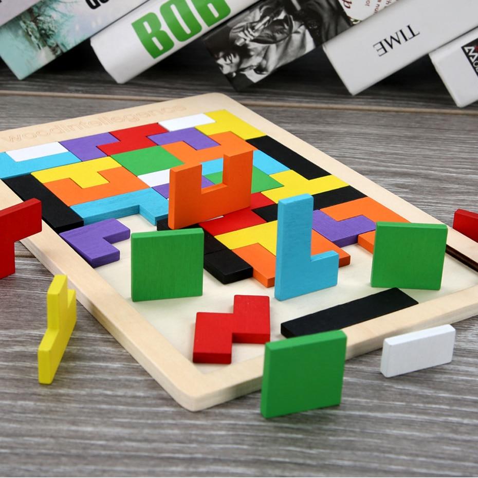 Colorido de madeira tangram cérebro teaser quebra-cabeça brinquedos jogo tetris pré-escolar magination intelectual educacional brinquedo do miúdo gyh