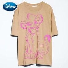 Disney T-Shirt Mode SIMBA König Der Löwen König der Dschungel Cartoon Druck Frauen T-Shirt Oansatz Kurzarm Baumwolle T tops