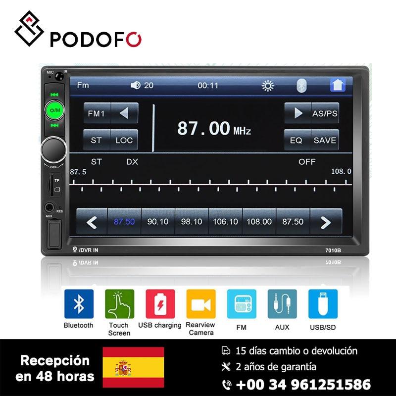 Podofo 2 Din Car Multimedia Player 7'' Mirror Link Bluetooth Multimedia USB Autoradio Rear View Camera Connection HD Player MP5