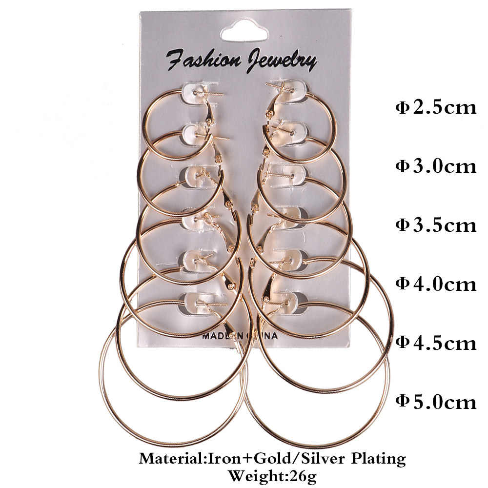 6 คู่/เซ็ตขนาดเล็ก Gold ต่างหู Big Round Silver Hoop ต่างหูผู้หญิงวงกลมผู้หญิง Ear Studs เครื่องประดับต่างหูชุด