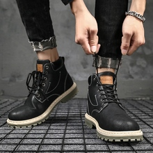цены 2019 Hot Men Shoes Fashion Autumn Winter Men Snow Boots Leather Footwear For Man New High Top Canvas Casual Shoes Men sneakers