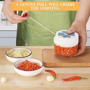 Frutas, verduras, hortalizas y carne trituradora Manual minipicadora de ajo hogar golpeando ajo maquina de moler de mano accesorios de cocina