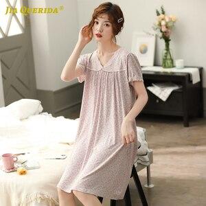 Image 3 - כותנה חדש אלגנטי נשים חלוק כתונת לילה נייטי קצר שרוול לילה שמלת Nightwear V צוואר גבירותיי בית שמלת שינה חולצה