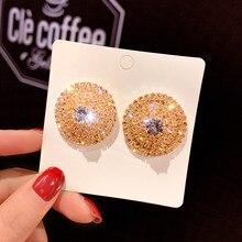 FYUAN ronda precisión pendientes brillantitos de imitación tapón para las mujeres brillo de cristal geométrico pendientes Fiesta de bodas joyería regalos