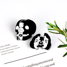 Punk Girl Black Cool Women Skull Face Enamel pins Funny Gothic Skeleton Badge Clothes Lapel Pin Brooches Dark Jewelry Wholesale(China)