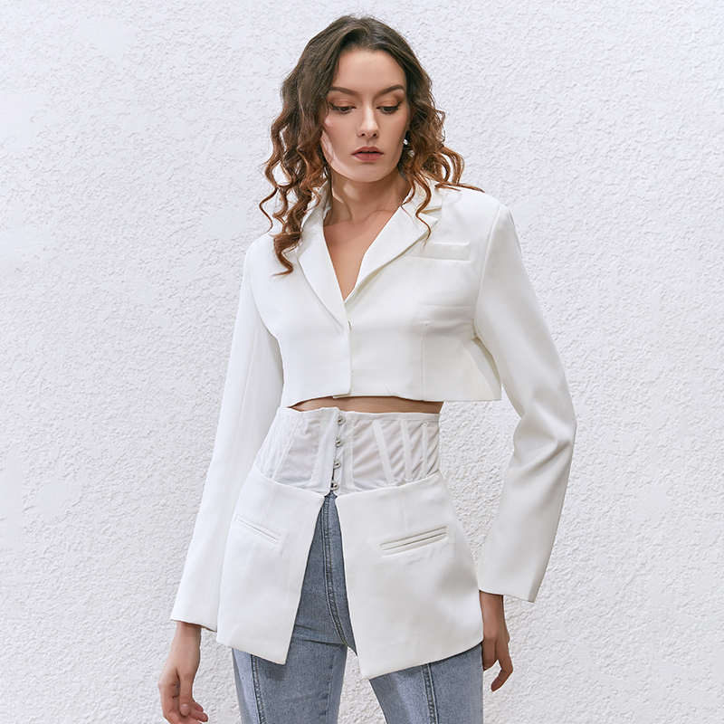 TWOTWINSTYLE coreano otoño blanco solapa de chaqueta túnica de manga larga Delgado traje femenino primavera nueva moda ropa 2020 - 2