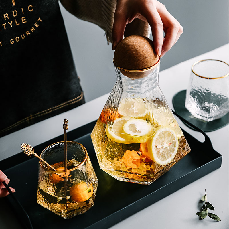 Water Kettle Glass Cups Nordic Geometric Glass Cold Water Jug Set Cup Drinking Ware Simple Household Juice Pot Water Pitcher 3