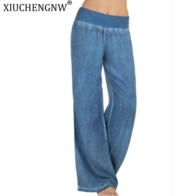 Denim  Women Pants Retro Jeans Wide Leg Trousers Lady Casual Bell-Bottoms Flare Autumn Plus Size Hip Hop Fashion Casual Pant HOT