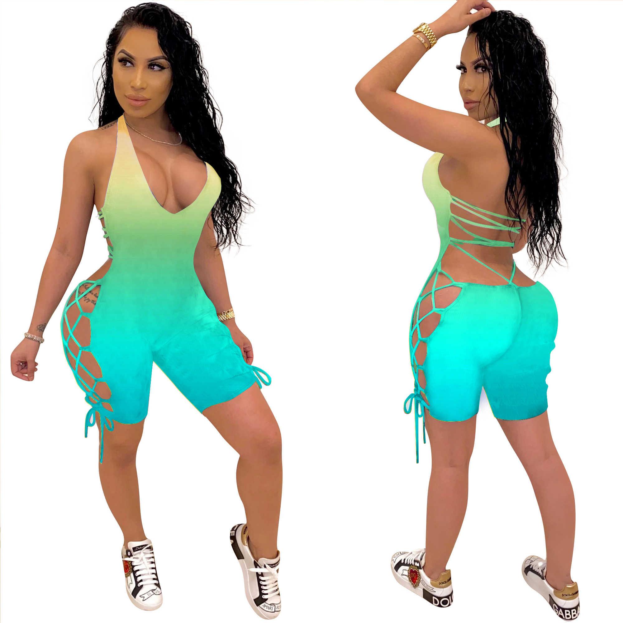 Женские облегающие комбинезоны с градиентным принтом, облегающие Комбинезоны для фитнеса, Комбинезоны для ночного клуба вечеринки, Цельный Наряд, GL159, лето 2020