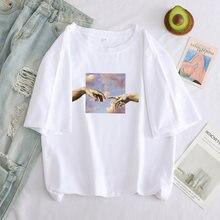 Camisetas de impressão de desenhos animados de michelangelo de grandes dimensões camisetas femininas grunge estético mão gráfico camiseta casual topos femininos