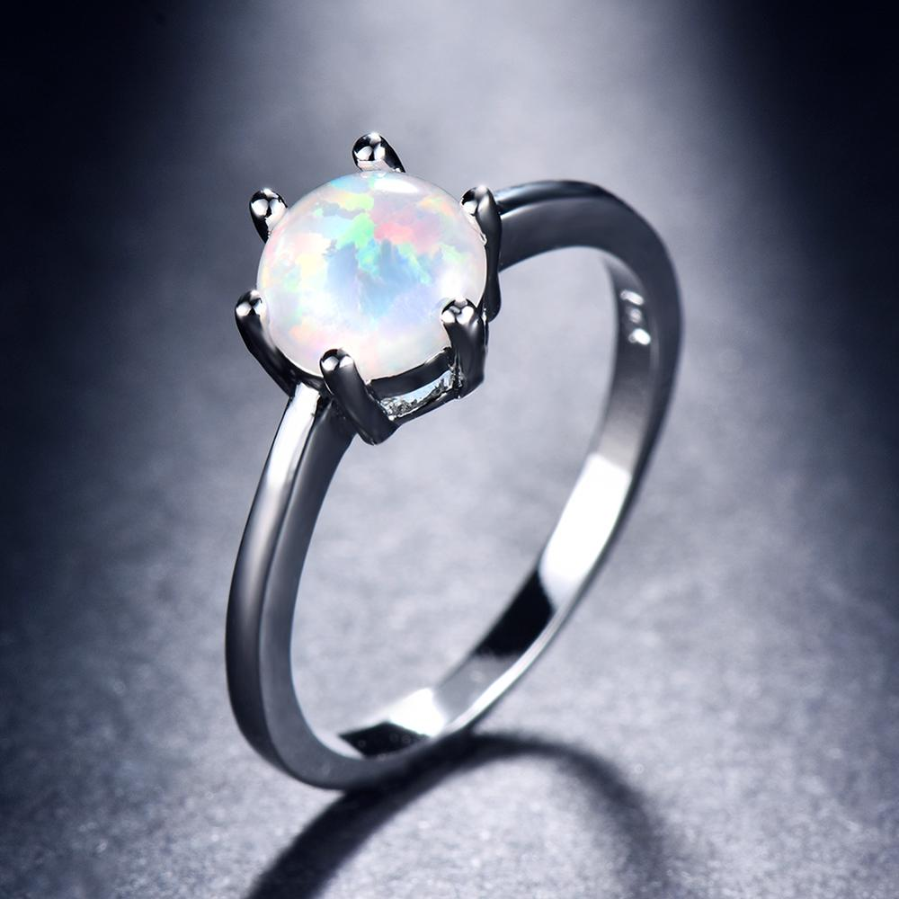 7mm Round~ White Fire Opal ~  925 Sterling Silver~   Promise Ring Sz 4
