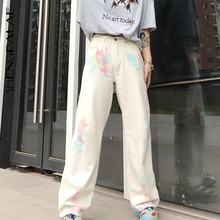 Casual Jeans Dye-Pants Long-Trousers Streetwear Cowboy Loose High-Waist Woman Tie Autumn