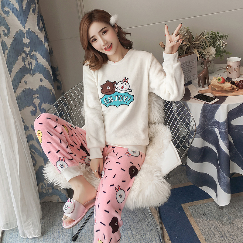 [Temperature Attitude Warm] Flannel Pajamas Women Long Sleeve Autumn & Winter Thick Enjoyment Bear Two-color Warm Sweet-Outer We