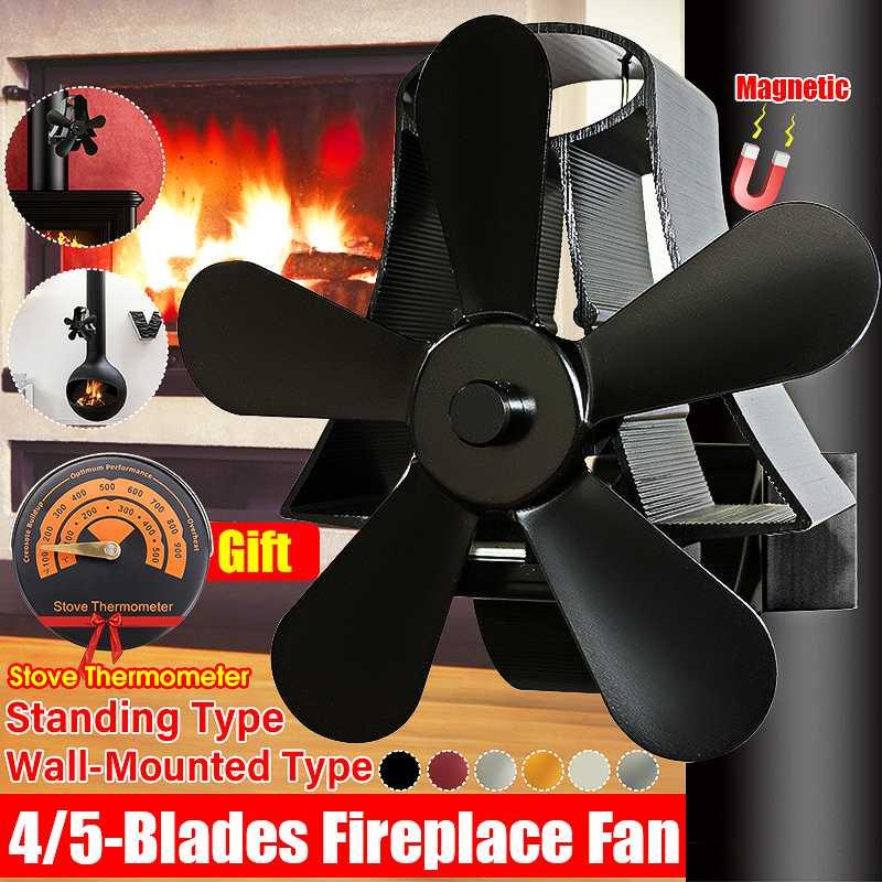 4/5 Blade Wall Mounted Heat Powered Stove Fan Log Wood Burner Ecofan Quiet Black Home Fireplace Fan Efficient Heat Distribution