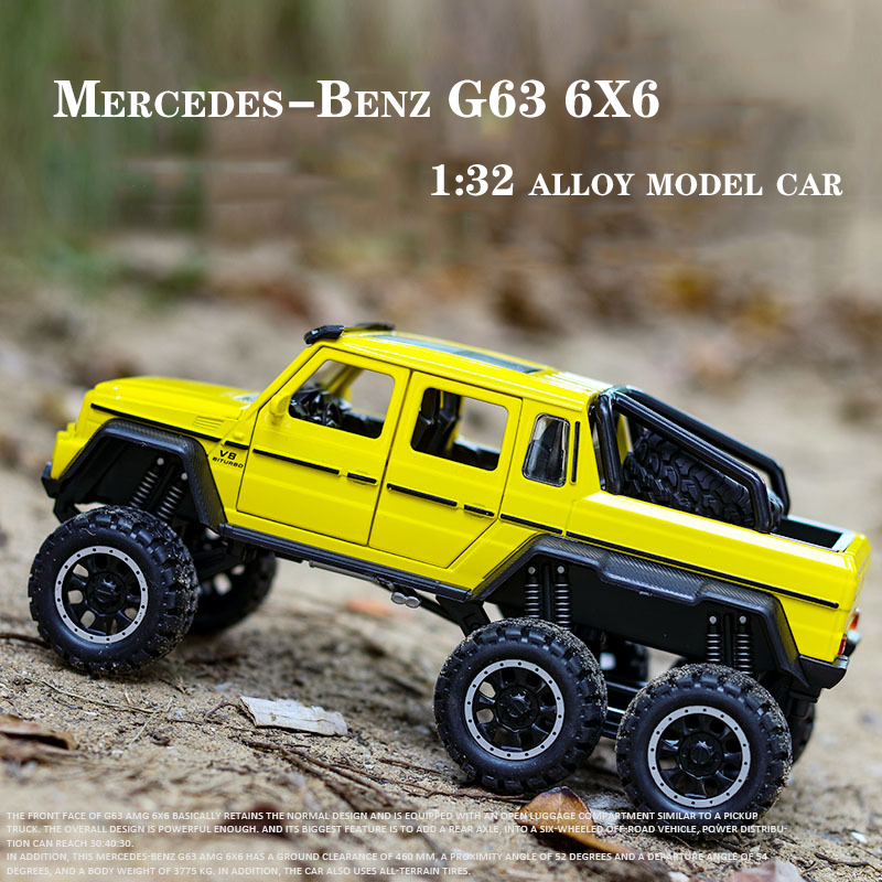 1:32 Scale Benz AMG G63 6X6 PickUp SUV Off Road Metal Alloy Car Model Diecast Vehicles Car Toys For Children Kids Gifts