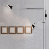 Minimalist modern nordic wall lamp with switch adjustble design flexible long arm arts indoor lighting for bedroom