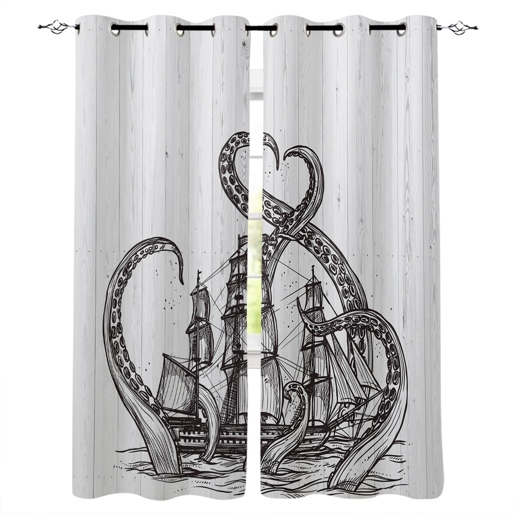 Kitchen Curtains Octopus And Pirate <font><b>Ship</b></font> Window Curtains Living Room Bedroom Decor Items Curtains for Bedroom image