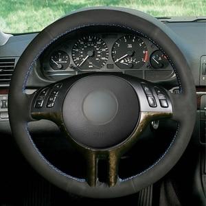 Image 2 - DIY יד תפור שחור זמש עור רכב הגה כיסוי עבור BMW X5 E39 E46 325i E53