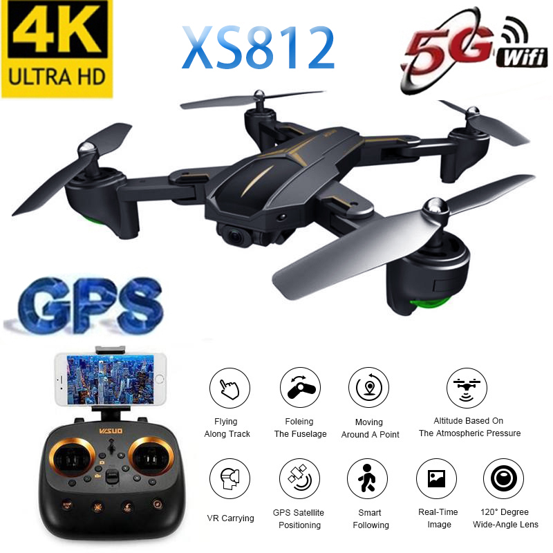 2019 New XS812 GPS Drone With 4K HD Camera 5G WIFI FPV Altitude Hold One Key Return RC Quadcopter Helicopter For Kids