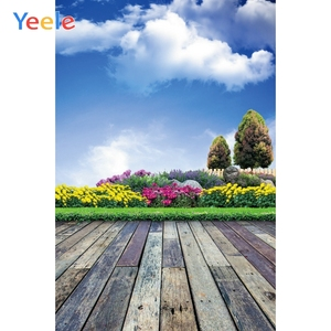 Image 5 - Yeele Brick Wall Gray Wooden Floor Blue Sky Cloud Baby Portrait Photographic Backgrounds Photography Backdrops For Photo Studio
