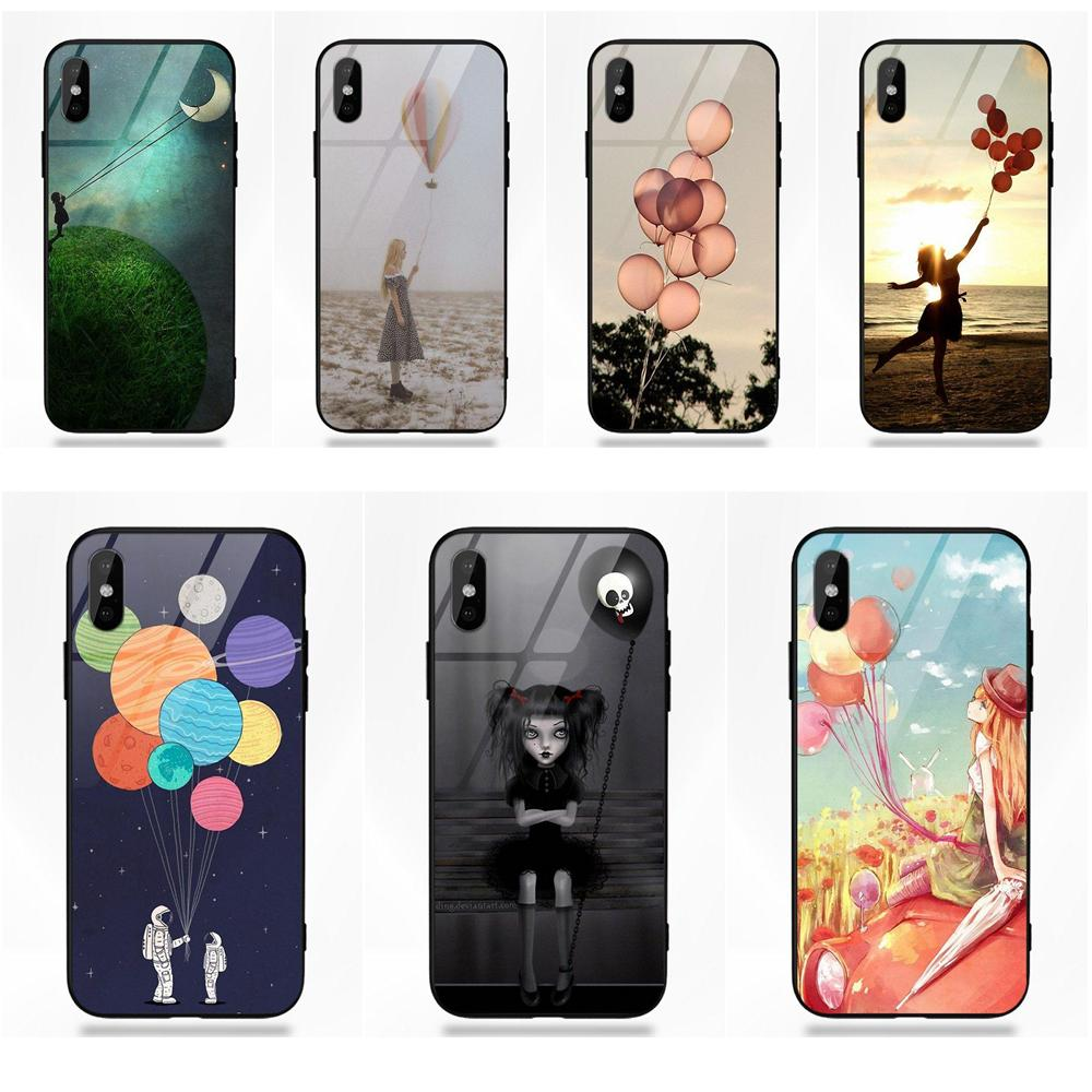 Girl Holding Balloons Dream Life Quote For Huawei Honor 7X P20 Lite Mate 10 Pro For Galaxy S8 S9 Plus Redmi 5 Note 5A 6