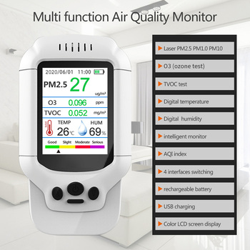 PM2.5 O3 Ozone Detector TVOC Air Quality Tester USB Instrument   2.8 LCD Screen Carbon Dioxide Formaldehyde Dust Haze Meter