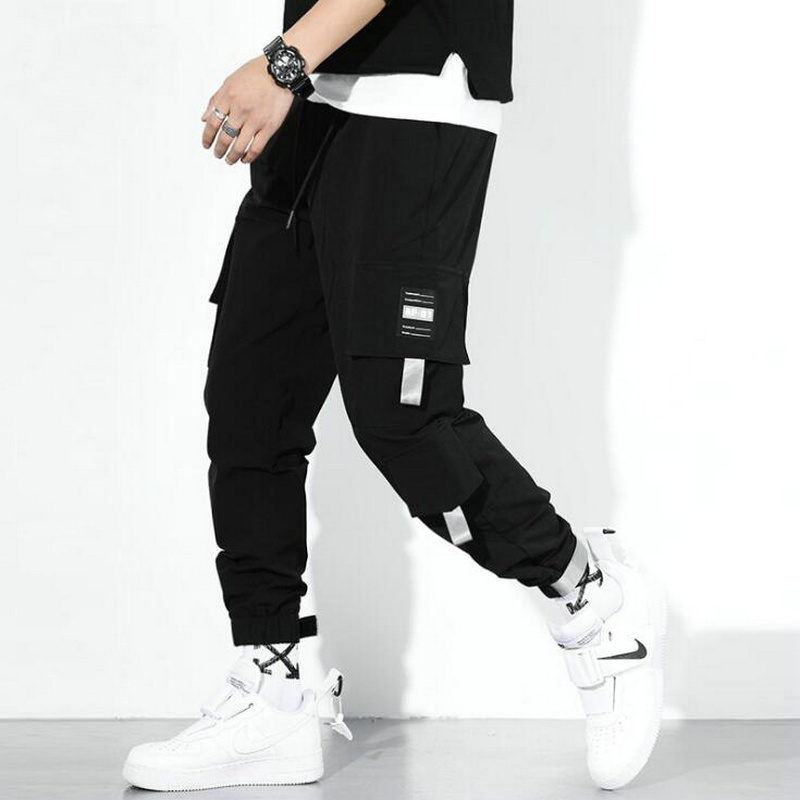 2020 Spring Autumn Streetwear Cargo Pants Men Cotton Drawstring Many Pockets Hip Hop Joggers Trousers Black Male Casual Pants
