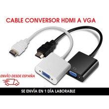Kabel HDMI eine VGA conversor adaptador HDMI macho eine VGA typ-2-62196-2 hembra farbe blanco y negro – HDMI zu VGA 1080p , se envía desde España