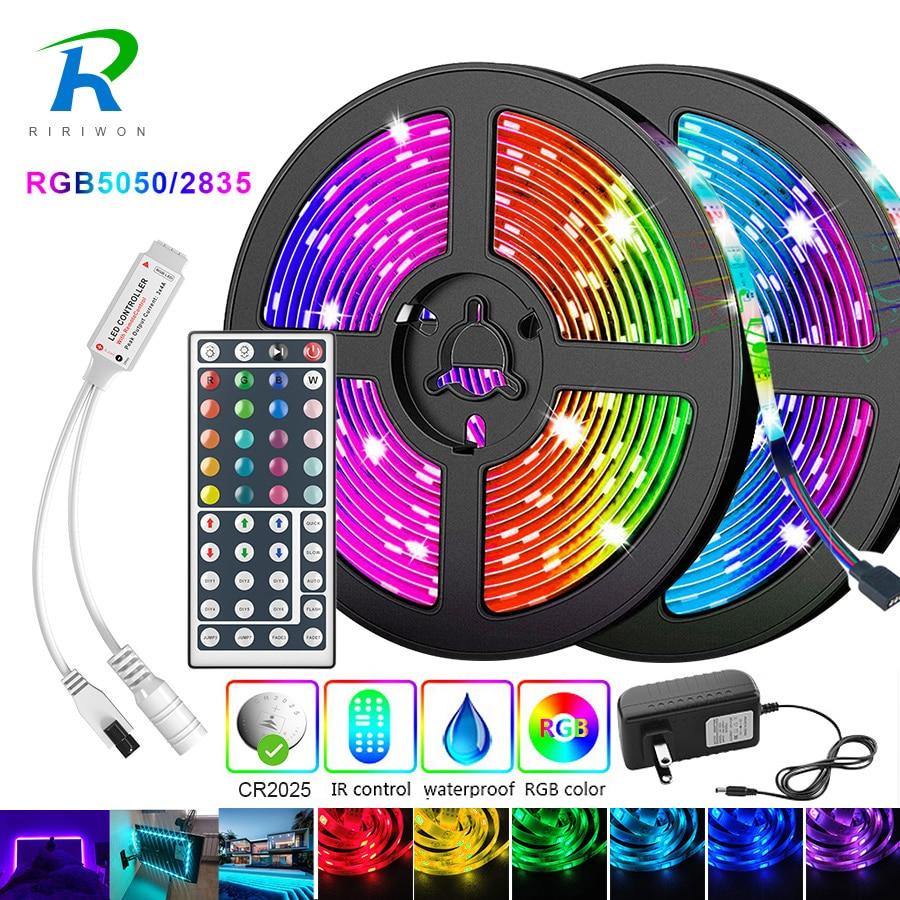 Fita LED RGB de 5m 10m 15m 20m, 5050 2835 IP20, faixa de luz flexível, DC 12V luz diodo, adaptador com controle IR
