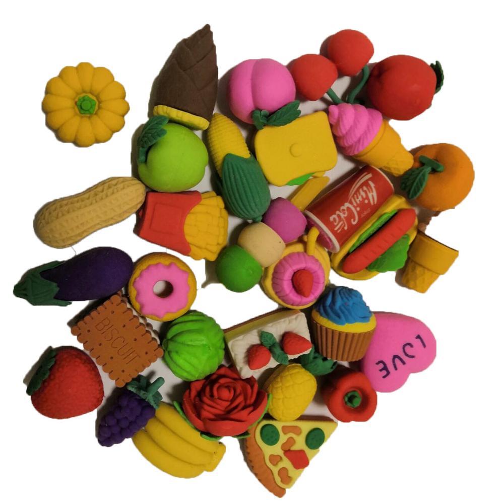 5pcs Vegetable Fruit Dessert Dinosoar Erasers School Rubber Gift For Girls Boys Cute Cartoon Kawaii Toys