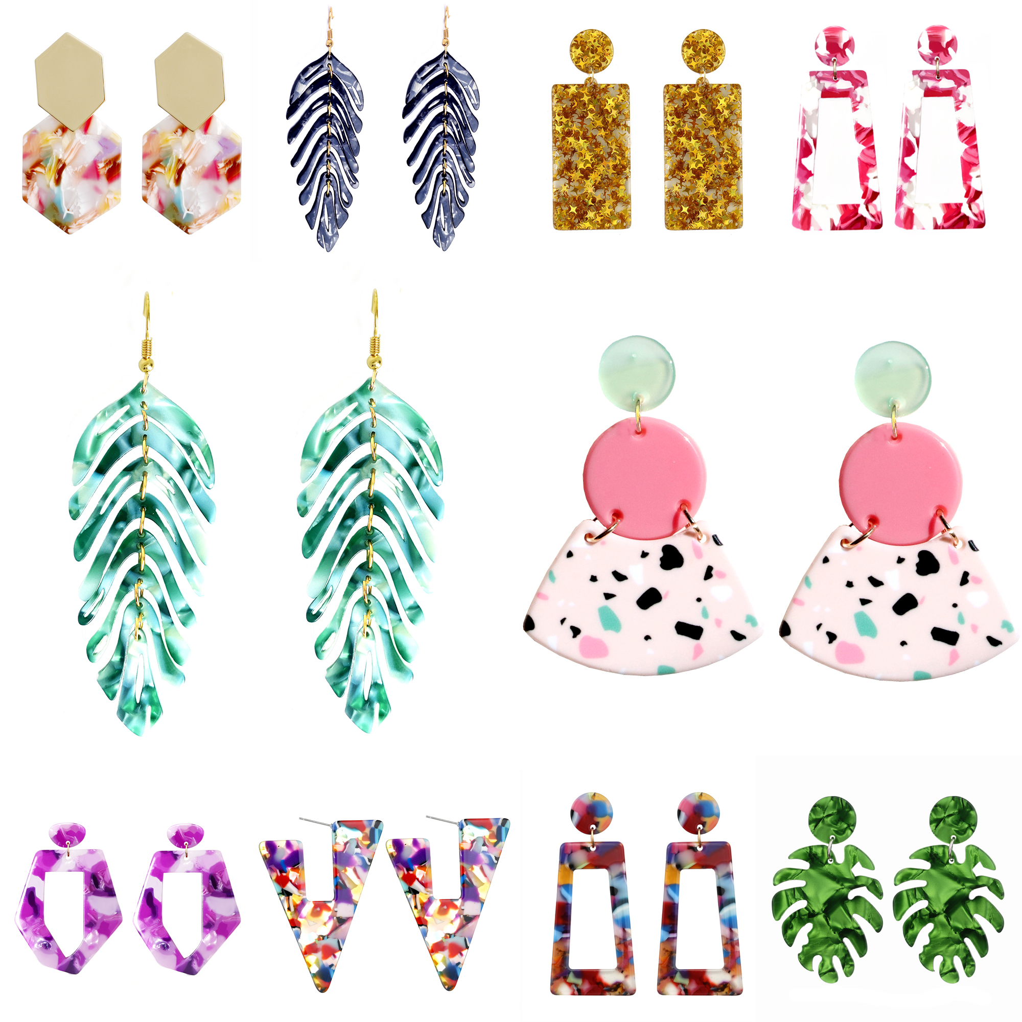 Earrings for Geometry Leaf Drop-Hanging Beautiful Girls Fashion Trend Colorful Women