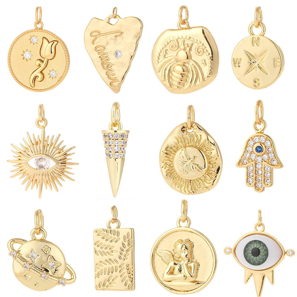 Star Moon Charms for Jewelry Making Supplies Gold Coin Charm Pendant Diy Design Charms for Earrings Necklace Bracelet Copper