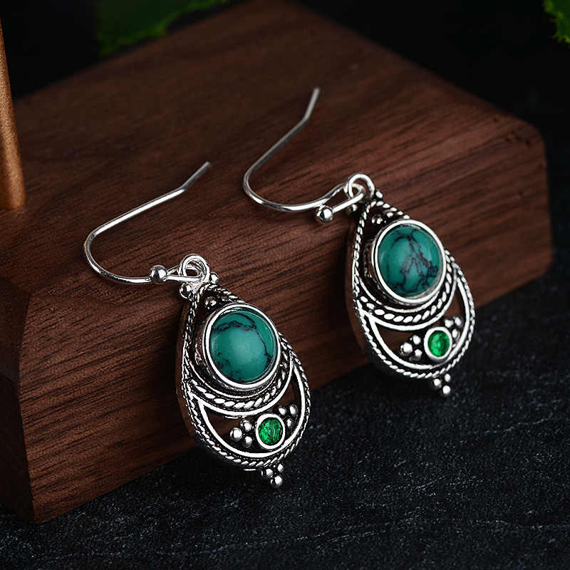 Retro 925 Sliver Turquoise Earring for Women Bohemian Green Topaz Gemstone Orecchini Turquoise Jewelry Bizuteria Garnet Earrings