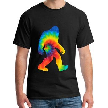 printed Bigfoot Tie Dye Vintage Hippie Sasquatch tshirt girl boy Short Sleeve Comics streetwear men t-shirts O Neck Normal