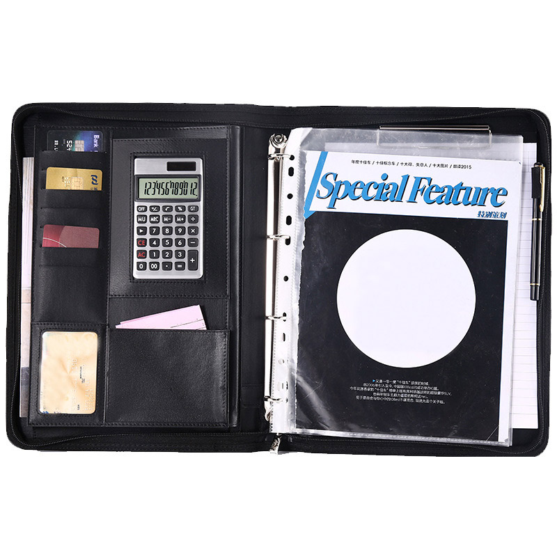 A4 Multifunctional Folder PU Leather Zipper Bag For Notebook Business Travel LHB99