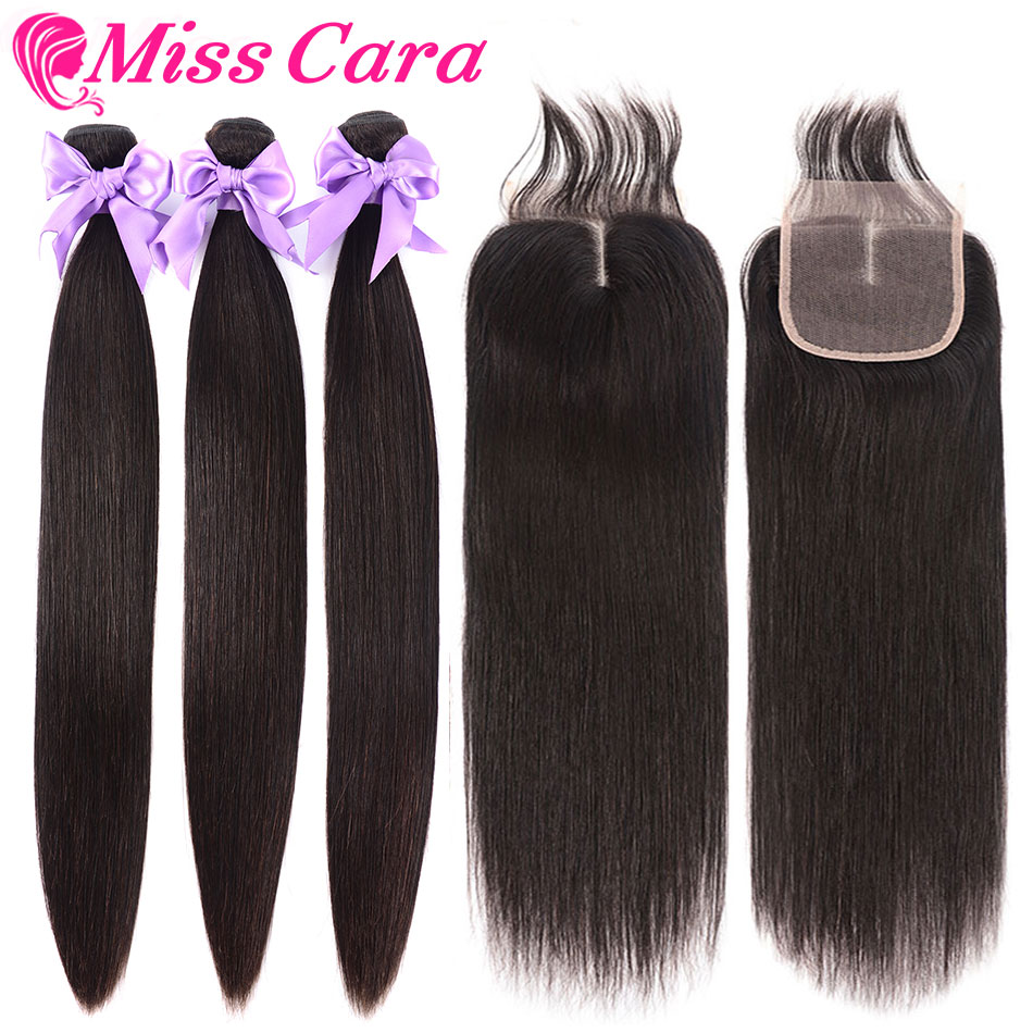 3 Pcs/Lot Malaysian Straight Hair With Closure 100% Human Hair 3 Bundles With Middle/Free Part Closure Miss Cara Remy Hair