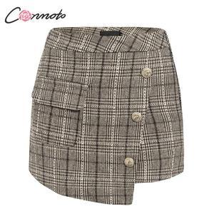 Image 5 - Conmoto vintage plaid autumn winter women skort elegant ladies pockets high waist skorts ladies high fashion OL skirt