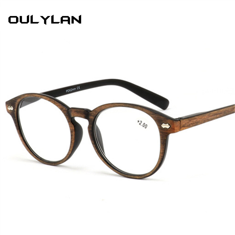 Oulylan Round Wood Reading Glasses Women Men Vintage Imitation Pattern Frame Presbyopia Eyeglasses Hyperopia Eyewear 1.5 2.0 2.5
