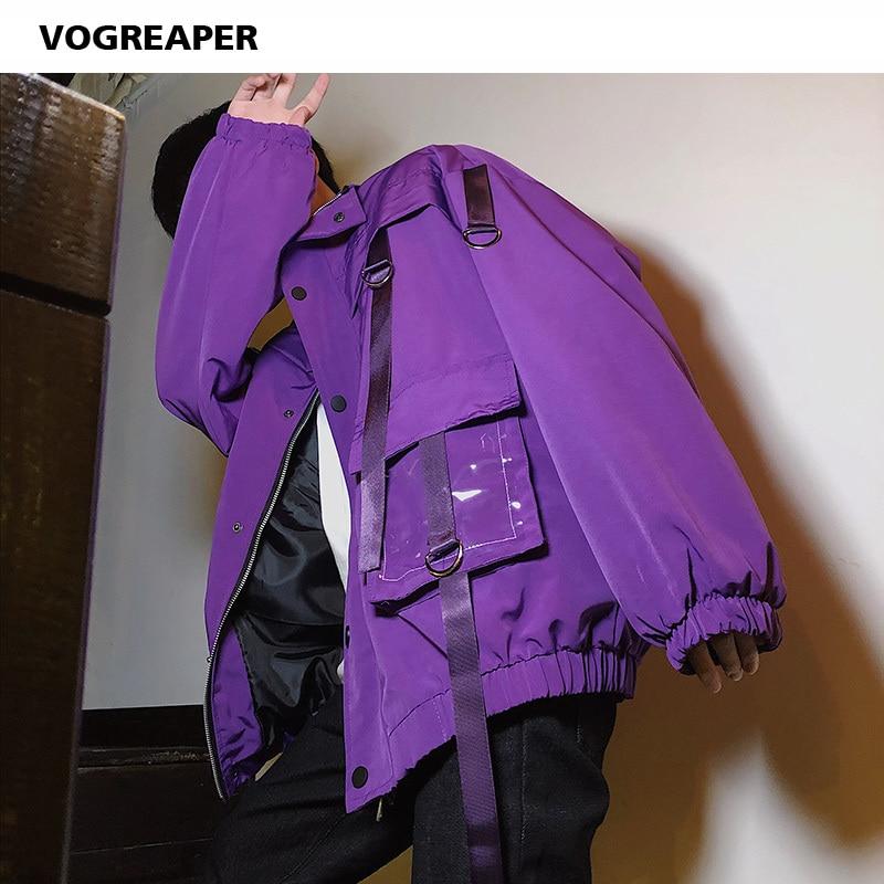 Мужская Уличная одежда с карманами, ветровка с лентами, черные фиолетовые куртки в стиле хип-хоп Харадзюку, хипстерские пиджаки-Карго