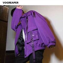 Jaqueta estilo harajuku masculina, casaco de bolso, com fitas, corta-vento, preto, roxo, hip hop, hipster, uso externo