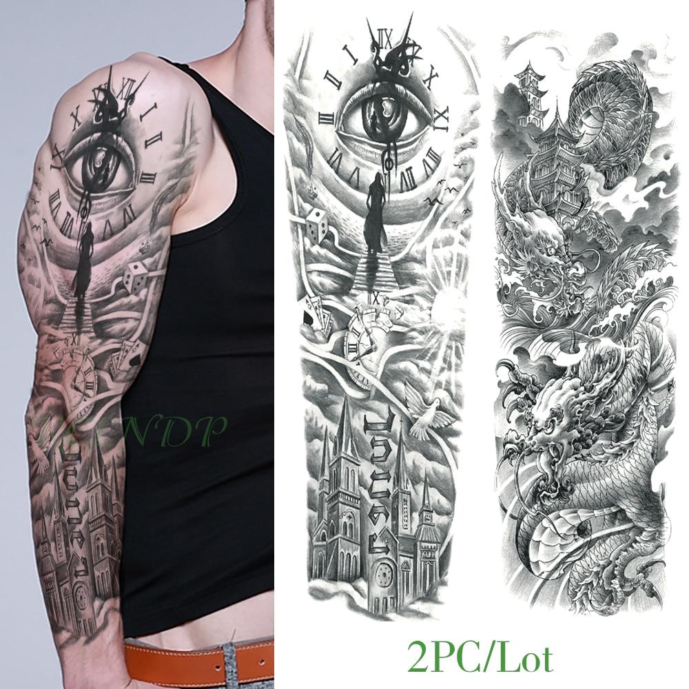 Waterproof Temporary Tattoo Sticker eye clock bird Pagoda full arm large size fake tatto flash tatoo sleeve tato for men women 4