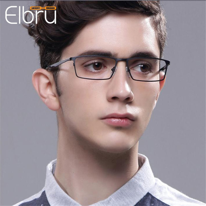 Elbru Anti-blue Light Metal Frame Reading Glasses Men Business Hollow Temple Magnifying Presbyopic Glasses With +1.0to+4.0