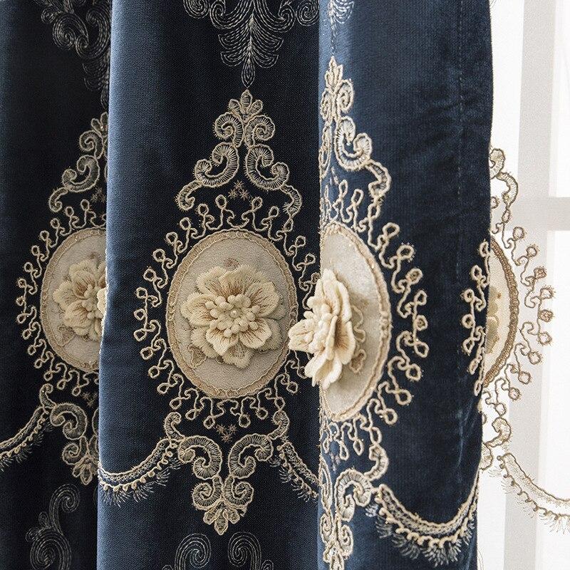 Роскошные 3D шторы с цветочной вышивкой для гостиной светонепроницаемые шторы для спальни Европейский стиль роскошные оконные шторы AG369 #4 Занавеска      АлиЭкспресс